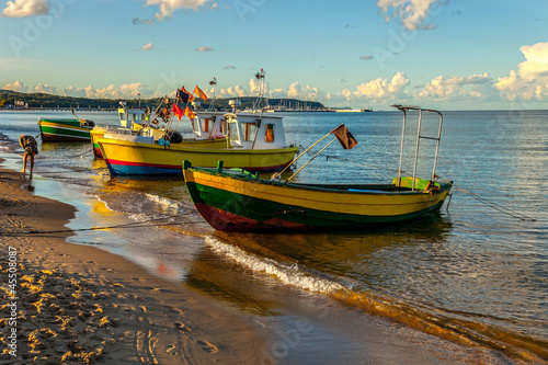 Boats in Sopot with molo in the background, Poland - 45508087