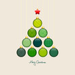 Christmas Tree Hanging Balls Pattern Green/Beige Gold