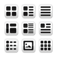 Website gallery view Display options buttons set - list, grid