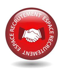 Bouton Web ESPACE RECRUTEMENT (remploi embauche candidature cv)