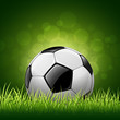 Soccer ball on grass background, vector illustration
