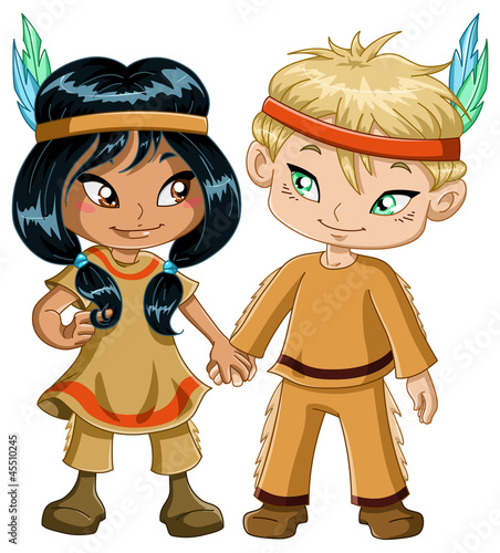 Papiers peints Indiens Indian Boy And Girl Holding Hands For Thanksgiving