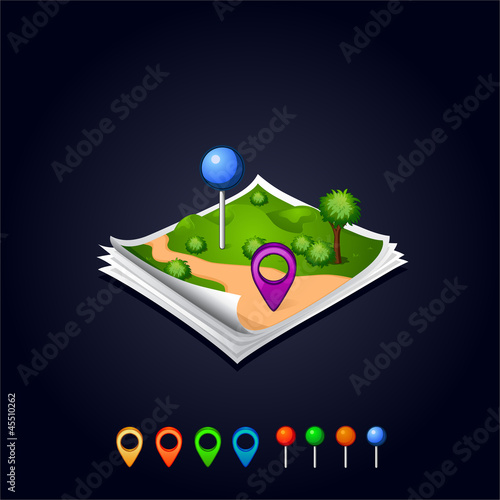 Vector map with GPS icons and sheets paper