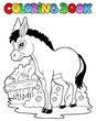 Coloring book donkey theme 1