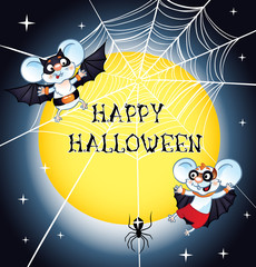Halloween bat flying and Spider Web.