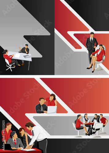 Red and black template for brochure with business people