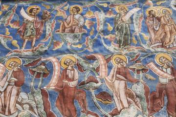 Wandmalerei am Kloster Moldovita, Bukowina (Rumänien)
