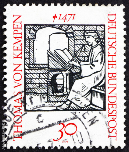 Postage stamp Germany 1971 Thomas a Kempis, Augustinian monk