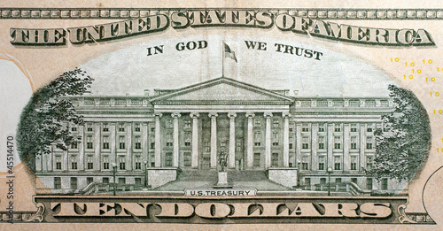 us treasury on the ten dollar bill