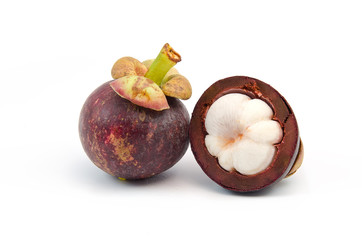 perspective of fresh mangosteen tropical fruit on white backgrou
