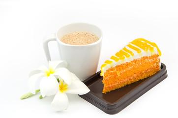 Orange cake with coffee on white background