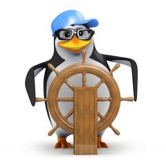3d Captain Penguin at the helm
