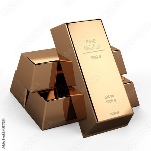 3D gold ingot...3D gold bars...This is a 3D render illustration