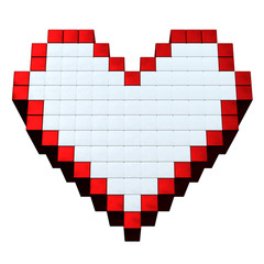 3D pixel heart isolated on white background.3D maded pixel image