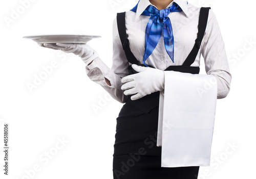 woman waiter with a plate in his hand