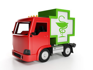 3d illustration: Truck and medicine. Delivery of medical supplie