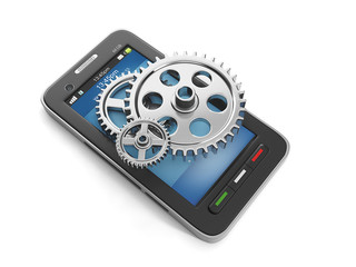 3d illustration: Mobile Technologies, a group of gears and a mob