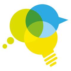 Glühbirne Idee Sprechblase Gedankenblase