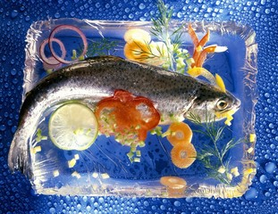 Trout with ingredients in a block of ice