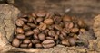Coffee beans on a wooden surface