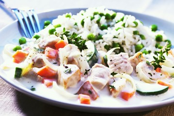Turkey with vegetables and rice