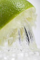 A lime being juiced (close-up)