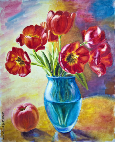 Still life with tulips and peach, oil painting on canvas