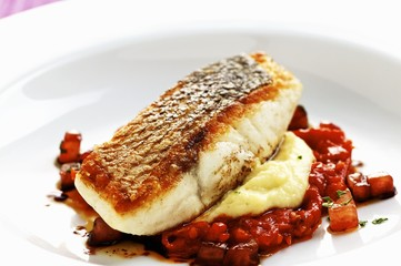 Bass with fennel and tomato confit