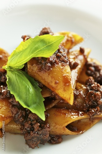 Penne with salsiccia sausage and basil (close-up)