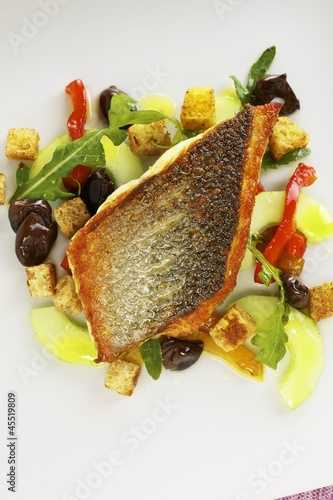 Bass on Ligurian bread salad