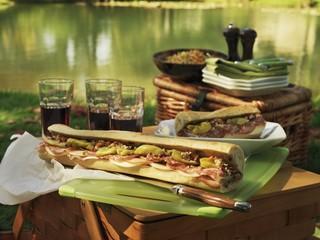 Picnic at the lake with Muffuletta (round Sicilian sesame bread) sandwiches