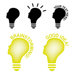Glühbirne Energie Idee Brainstorming Kopf