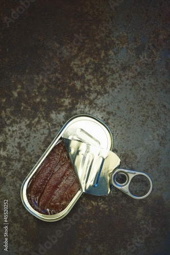 Partially Opened Anchovy Tin