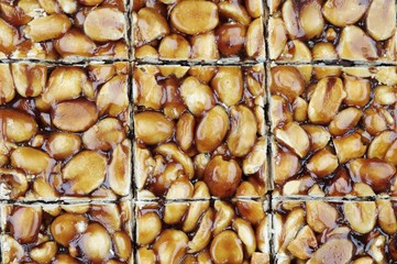 A homemade peanut and caramel bar