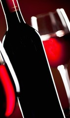 Red Wine Bottle; Glasses of Red Wine