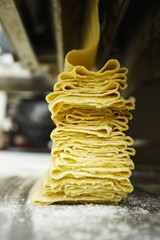 Fresh Sheets of Pasta Being Made