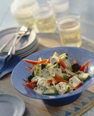 Greek salad with a yogurt dressing