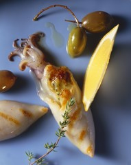 Grilled squid with olives