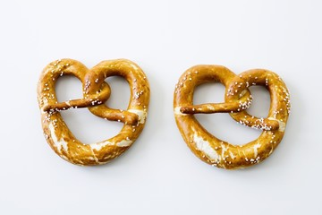 Two soft pretzels with salt