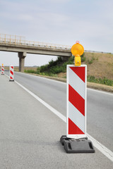 Road construction, roadwork and signs