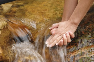 A woman holding her hands under running water