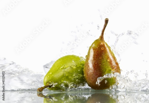 Two pears in water
