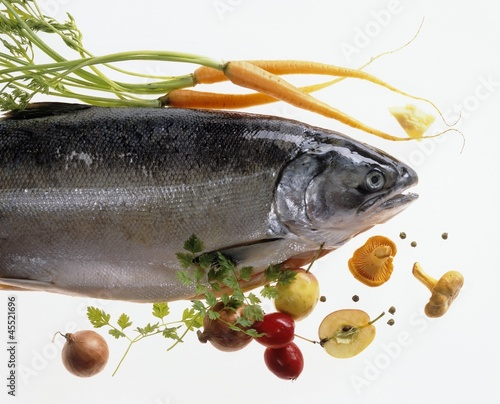 Salmon trout with vegetables