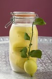 Pickled lemons in jar, small branch with fresh lemon