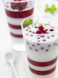 Buttermilk and redcurrant layered dessert with mint leaves