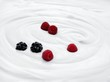 Natural yogurt with raspberries and blackberries