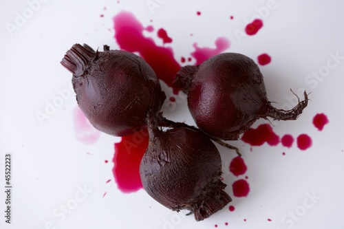 Three Whole Roasted Beets on White