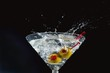 Martini Splash with Olives