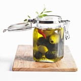 Pickled green and black olives