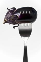 Aubergine on fork